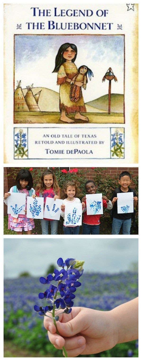 Learning about the US through Books: Texas!! This sweet story about a Comache Indian girl and her generous sacrifice tells the legend of the our famous Blubebonnet flowers. Here it is paired with a craft, discussion questions, and lots of extension resources. Links to all 50 states' books for kids!