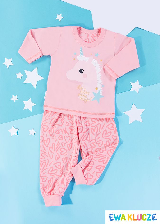 EWA KLUCZE, koralowa piżamka z długim rękawem COMICS, ubranka dla dzieci, EWA KLUCZE, COMICS pijamas, baby clothes, Детская одежда