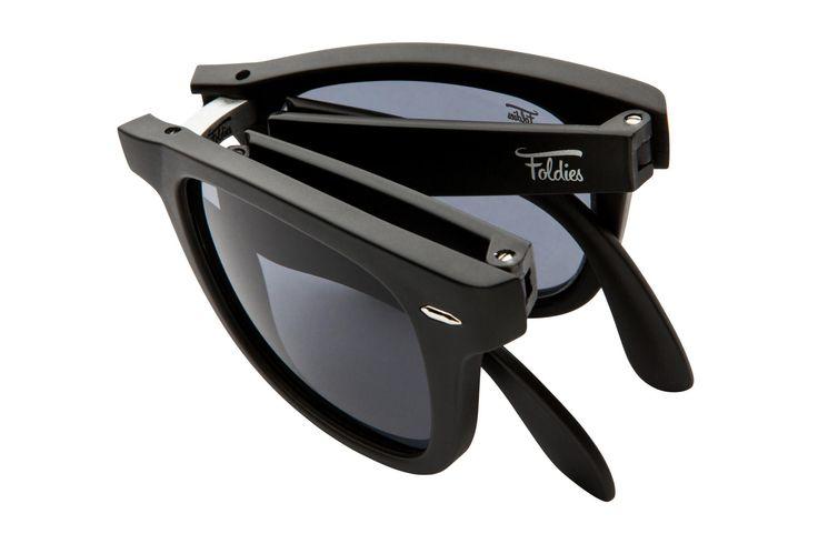 Foldies Matte Black Folding Sunglasses with Black Lenses