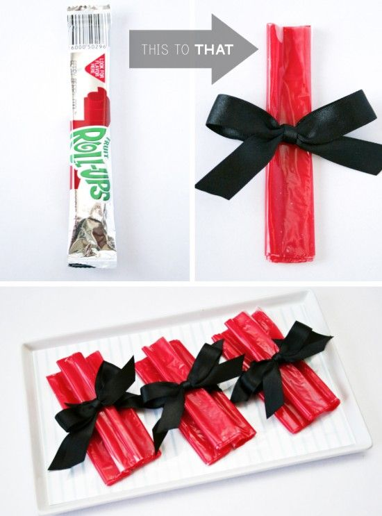 Preschool Graduation Party Idea - Fruit Roll Up Dipolmas (yeah, I know we've got a long time to go yet, but this is cute)