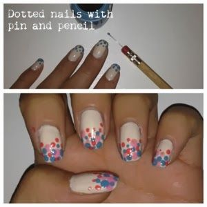 Prickiga naglar - dotted nails with pencil and pin. #opi #essie #nailart