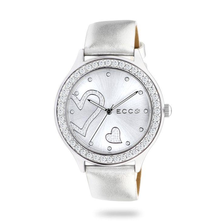 ECC Ladies Stone Set Heart Silver Leather Strap Watch