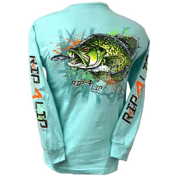 Crappie Long Sleeve Rip A Lip Fishing T-Shirt  Celadon