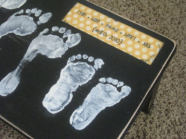 An adorable foot stool - what a sweet mothers or fathers day gift idea!