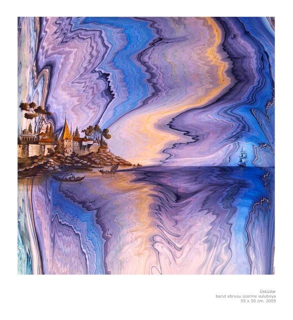 ebru paper | Painting on ebru by Garip Ay