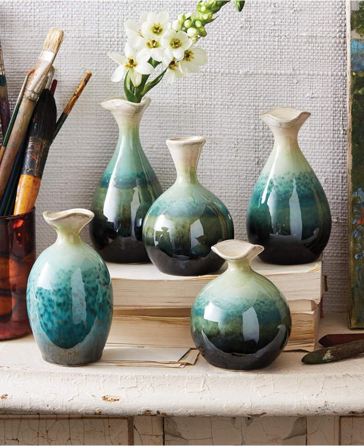 Twos Company Two S Company Set Of 5 Flaredtop Celadon Dripping Vases Floor Vase Decor Vase Vase Shapes