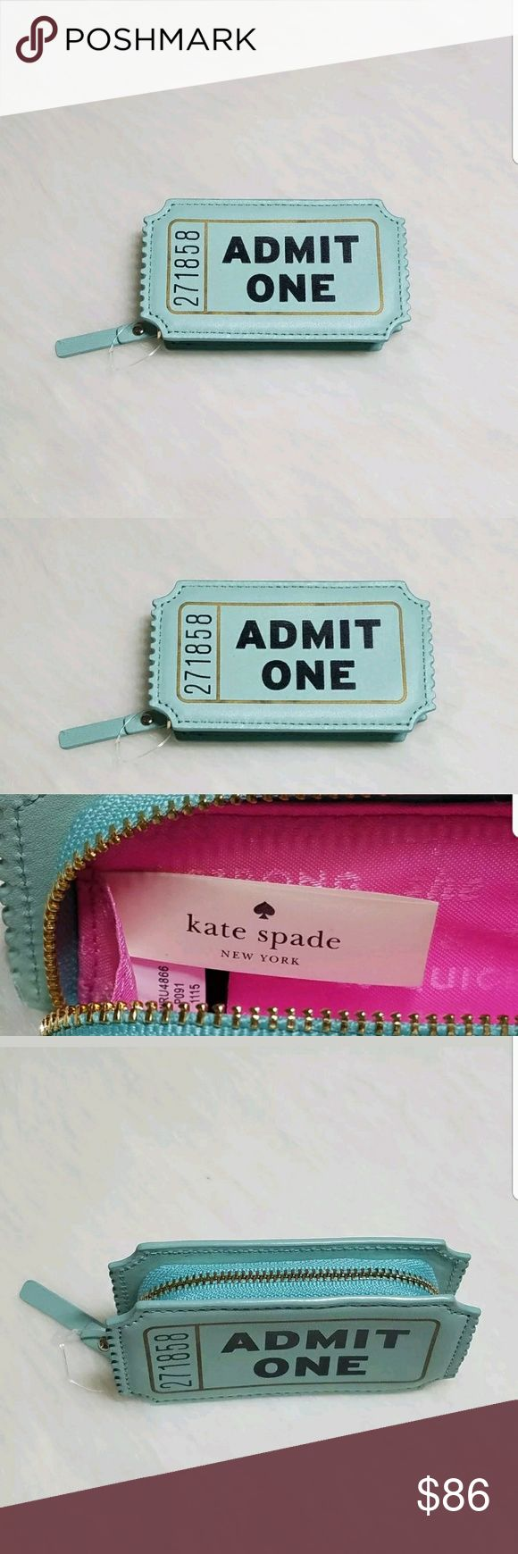 """Kate Spade Flavor of Month Movie Ticket Coin Purse Up for sale Kate Spade Flavor of the Month Movie Ticket Coin Purse -  Aqua Color  Measurements : H- 2.3 ×""""W-4.1""""× D-0.8"""" kate spade Bags Mini Bags"""