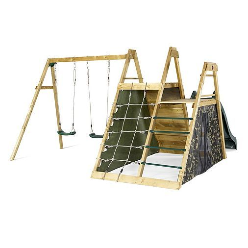 Tesco direct: Plum Climbing Pyramid Wooden Climbing Frame Outdoor Play Centre with Swings, Play Den and Slide