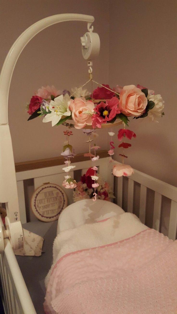DIY Woodland Nursery Mobile for baby girls room #babies #nursury
