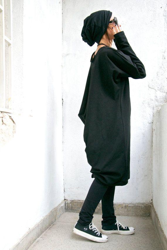 Oversize Black Loose Casual Top / Asymmetric Raglan Long Sleeveless Tunic Knit Top / Maxi Blouse Turtle neck Tunic on Etsy, $95.77 AUD
