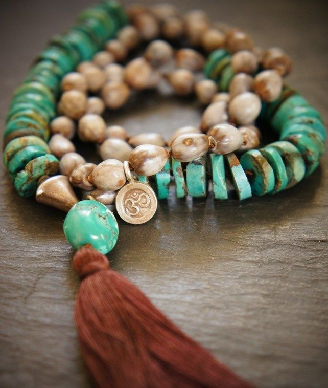 Tibetan Turquoise and Vaijayanti Throat Chakra 108 Mala, Yoga Necklace £74.00
