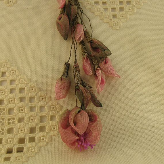 Ribbon Flowers French Wired Pink Moss Ombre Ribbon Sheers with Gold Metallic Lace and Cord. Free shipping