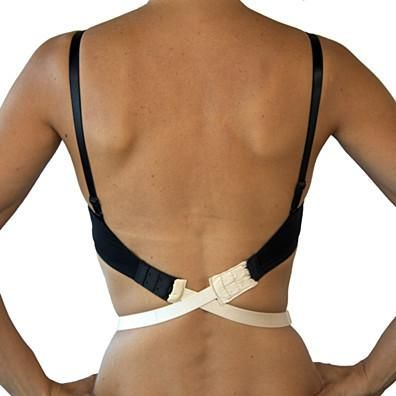 Low back style?Obvious unmentionables?Un-sexy back?thesolutionis Low Expectations: low-back bra convertersPut the sexy back in sexy back! Low Expectations low back strap hooks onto your existing bra to pull down the back strap, allowing you to wear plunging back styles while still having the support and discretion your normal bra affords. Low Expectations lowers your bra band by an average of 5 inches, so it is a good option for backless dresses- especially for women who have more t...