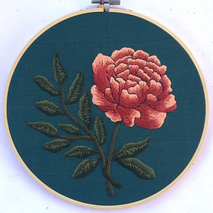 peony embroidered art