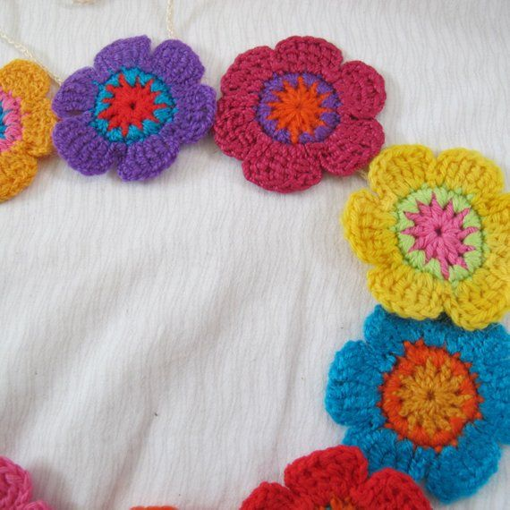 Funky Flower Garland Colourful Flower Banner Summer Garland Bunting Crocheted Flower Decor Flower Garlands Flower Decorations Garland