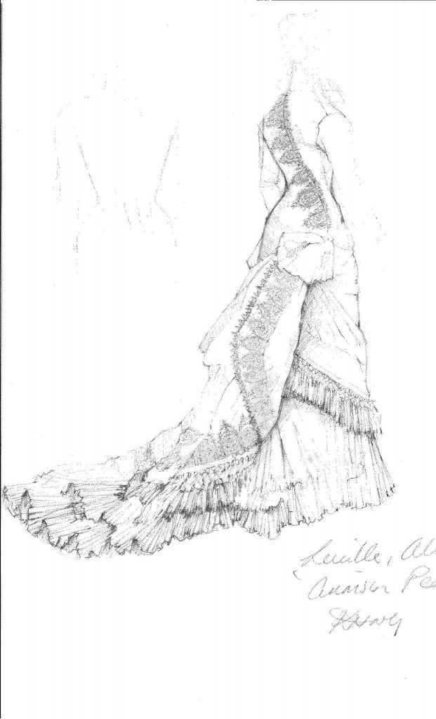 """This image provided by Legendary Pictures and Universal Pictures shows a sketch by costume designer Kate Hawley of the costume for the character Lady Lucille Sharpe played by Jessica Chastain for Legendary Pictures' """"Crimson Peak,"""" a gothic romance from director, Guillermo del Toro. (Kate Hawley/Legendary Pictures and Universal Pictures via AP) Photo: Kate Hawley, AP / Legendary Pictures and Universal Pictures"""