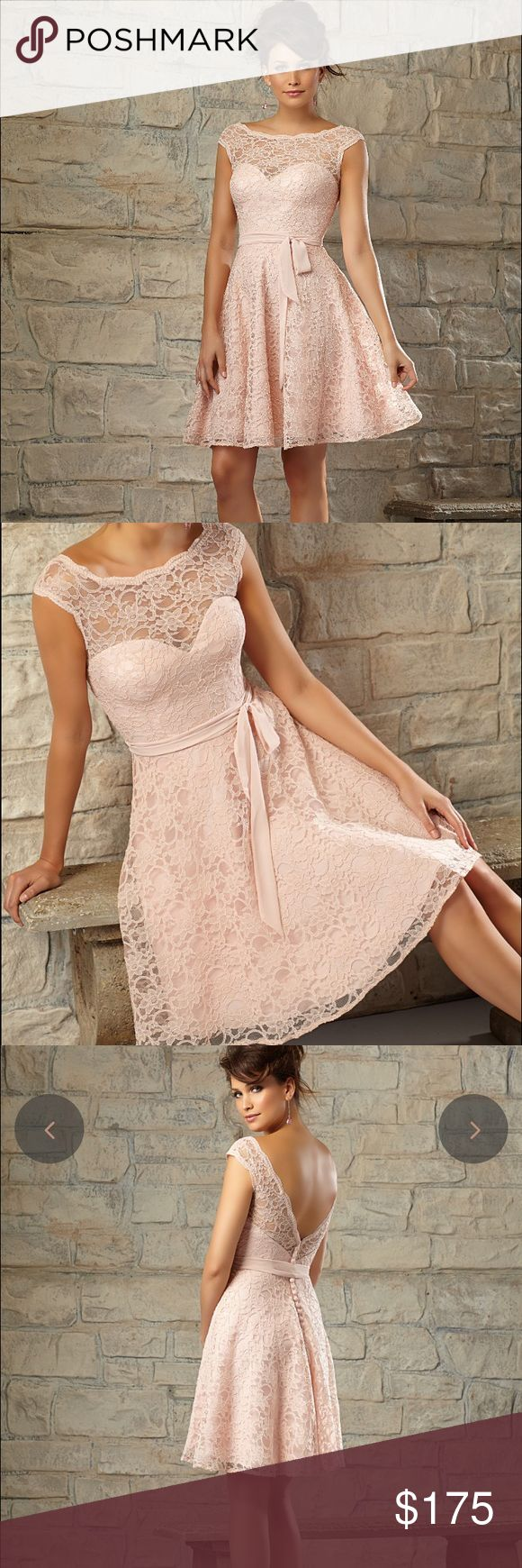 Mori Lee Bridesmaid Dress Style 725 in Blush Beautiful knee length lace dress. Gorgeous lace with button back details, and satin belt/ribbon. Style: #725 Color: Blush Size: 16 Mori Lee Dresses Wedding