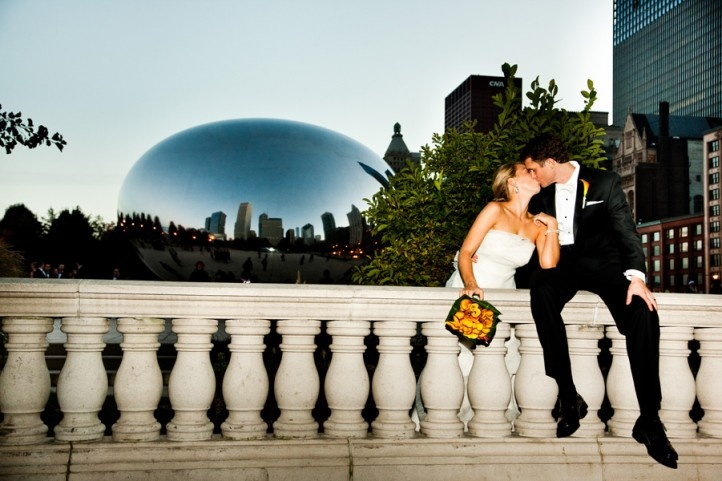 "Chicago wedding photos near the famous ""Bean"" on the Magnificent Mile!"