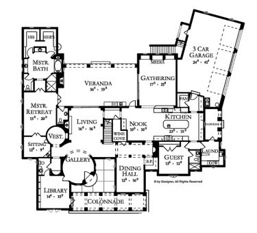 Very cool floorplan. Theyve given it a Spanish exterior, but I could see this translating into a Tudor very easily.