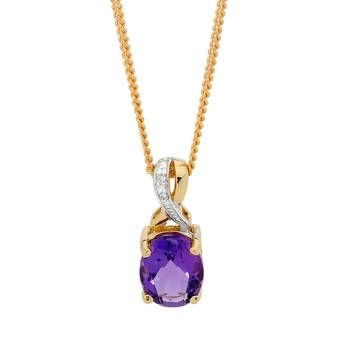 Colour your world with this Yellow Gold Amethyst & Diamond Pendant Showcase Jewellers