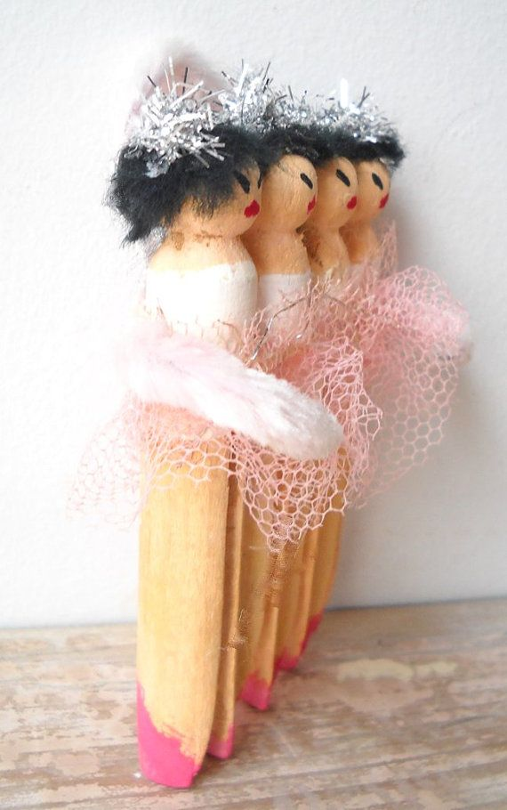 Ballerina Ornament Clothespin Art Doll Assemblage by AlteredEco2