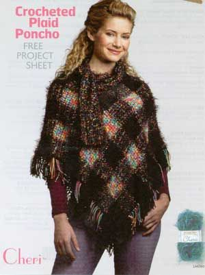 Crocheted Plaid Poncho LM0160   Free Patterns
