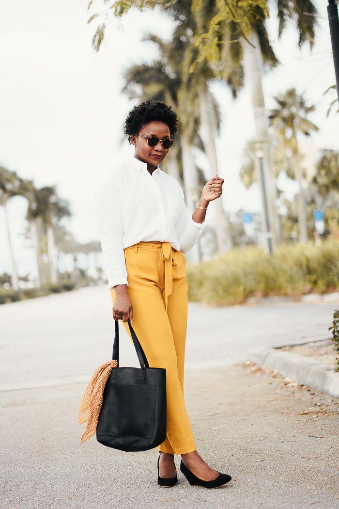 mustard yellow paper bag pants  white shirt outfits