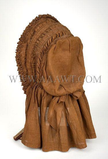 Antique Bonnet, 1840's, Brown Color, rear view
