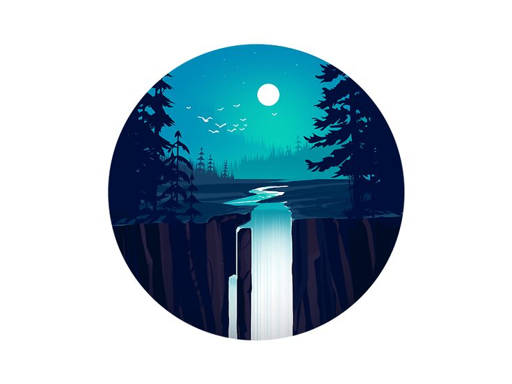 Waterfall illustration by Afsal #Design Popular #Dribbble #shots