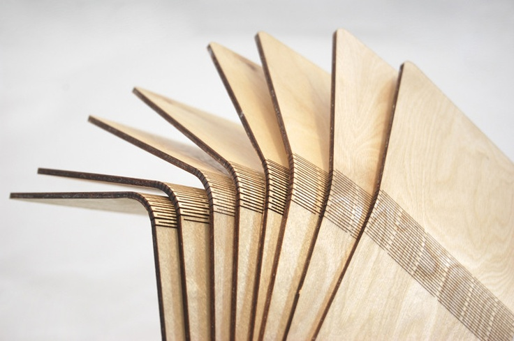 Hello bendable wood - Snijlab uses laser cutting to perforate both sides of wood to make it fully bendable - love it