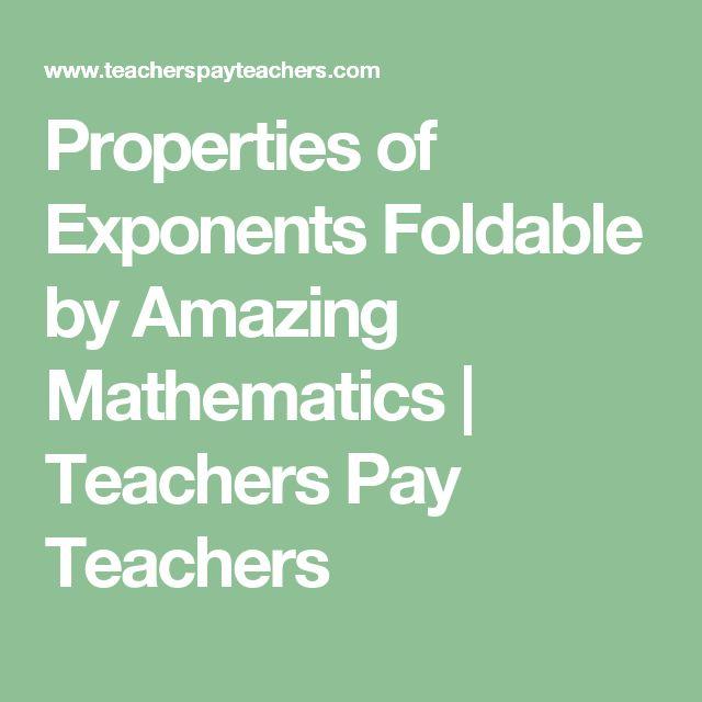 Properties of Exponents Foldable by Amazing Mathematics | Teachers Pay Teachers