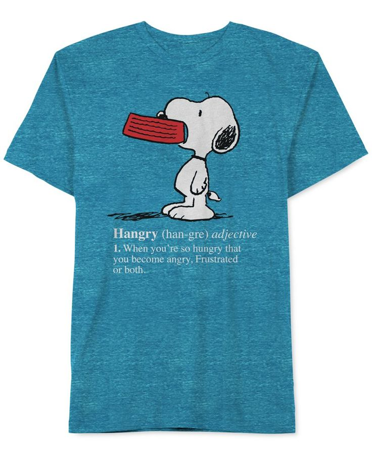 Snoopy t-shirt. He's sorry for what he said when he was hungry.