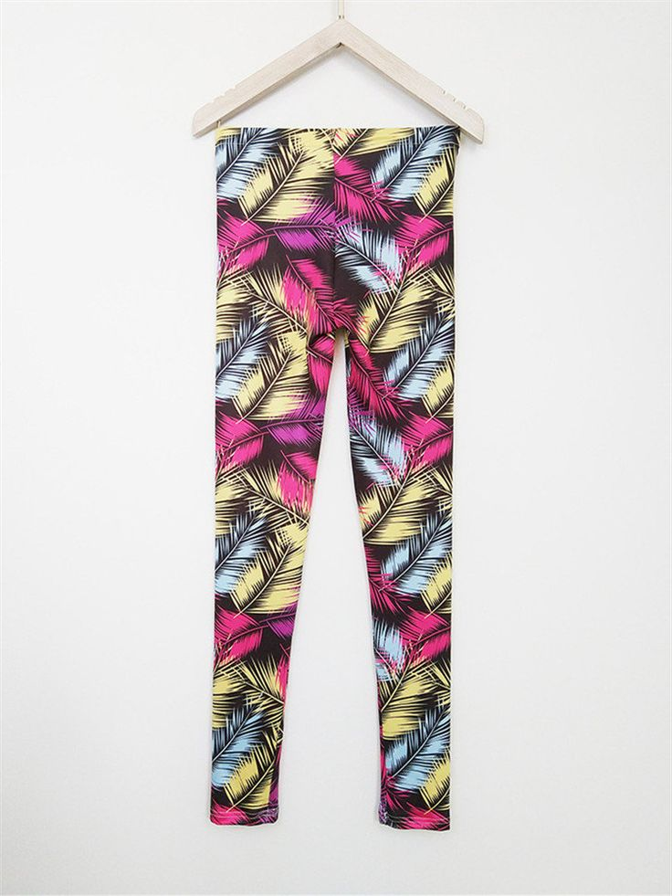 Casual Printed Raise Buttock Stretch Tight Trousers For Women