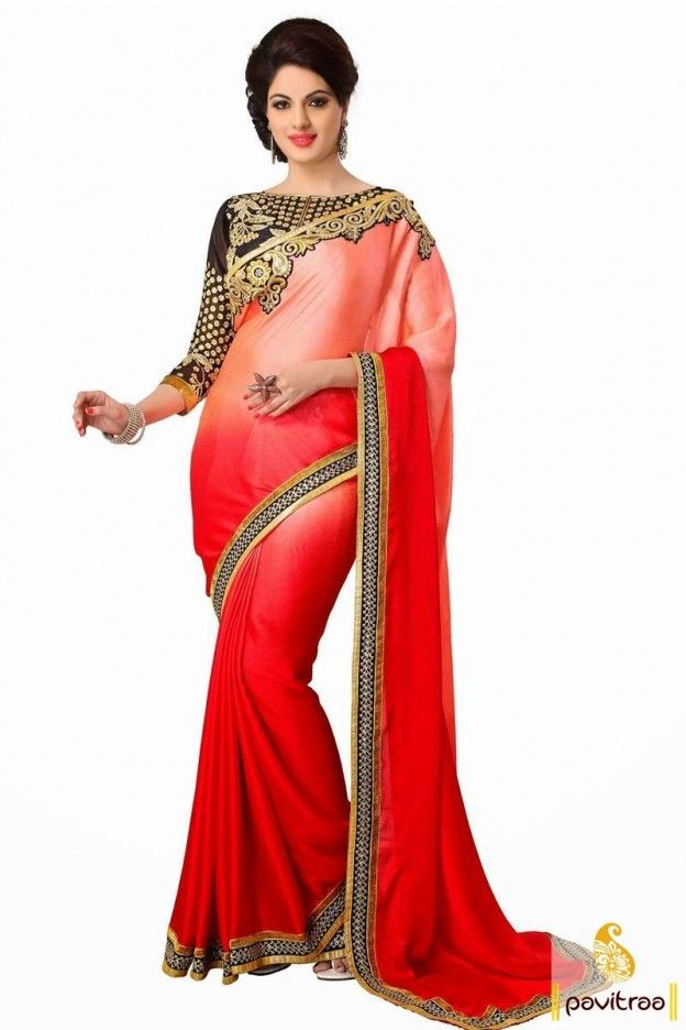 This is one of the greatest saree with style. This black red graceful georgette designer saree is built up with heavy border made up of golden and black patch. #saree, #designersaree more: http://www.pavitraa.in/store/designer-collection/