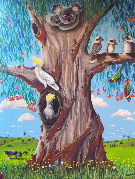 Main section from GUM TREE MURAL by Australian Artist, Selinah Bull http://www.selinahbull.com