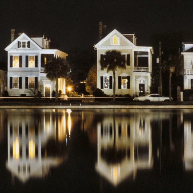 Charleston SC, homes on Colonial Lake, Rutledge Avenue side of it