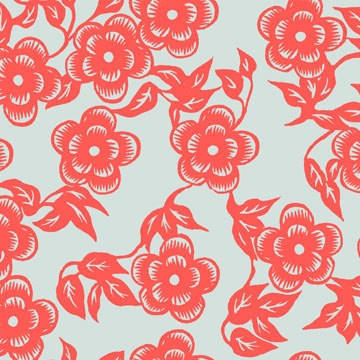 Asian print oilcloth her name