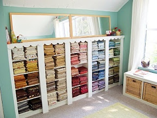 Lovely way to store fabric: Fabrics Storage, Built In, Dreams, Crafts Rooms, Rooms Ideas, Craftroom, Sewing Rooms, Window Seats, Storage Ideas