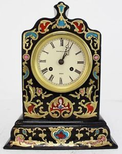 SUPERB ANTIQUE FRENCH 8DAY ARCHITECTURAL EBONISED CHAMPLEVE BOULLE MANTEL CLOCK