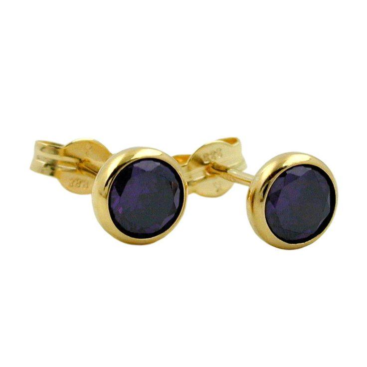 stud earrings purple zirconia 5mm 8k gold