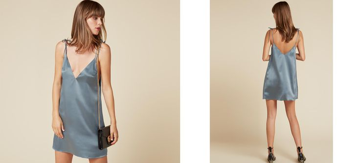 Give 'em the slip. This is a loose fitting, mini length dress with adjustable strap ties and a v neckline.