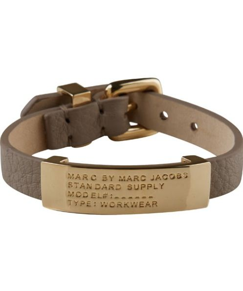 MARC BY MARC JACOBS BROWN STANDARD SUPPLY LEATHER ID BRACELET