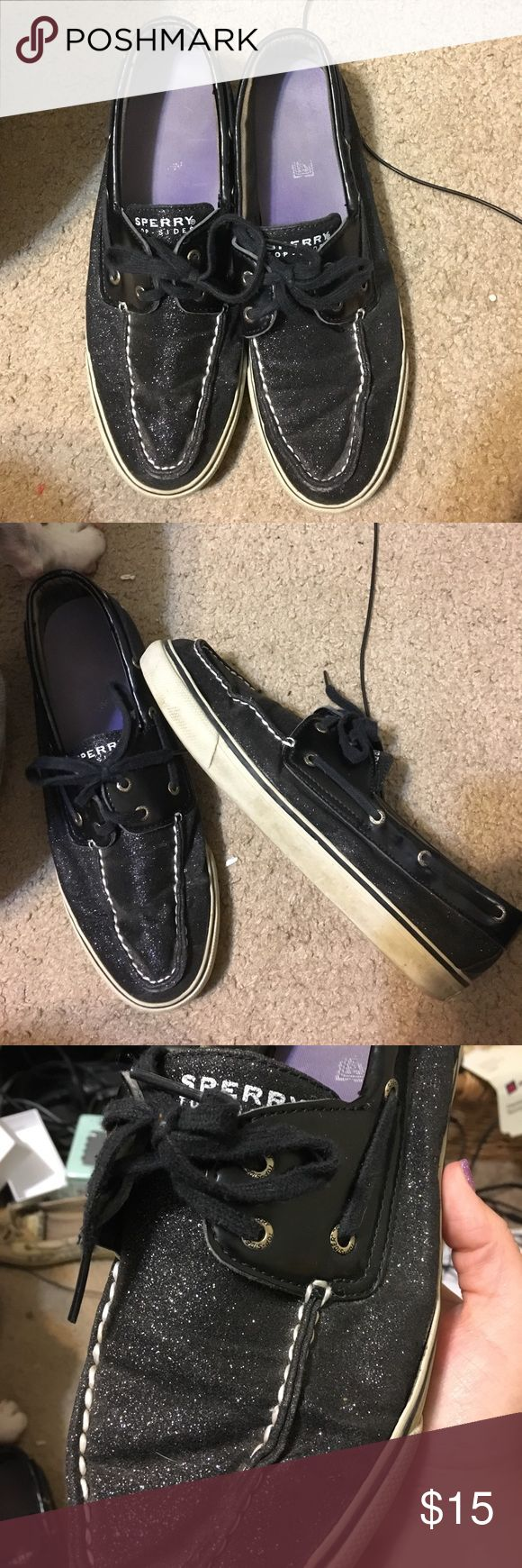 Sparkly black sperrys Gently used sparkly black sperrys size 10. With a little clean up on the bottom part these will be like new Sperry Shoes Sneakers