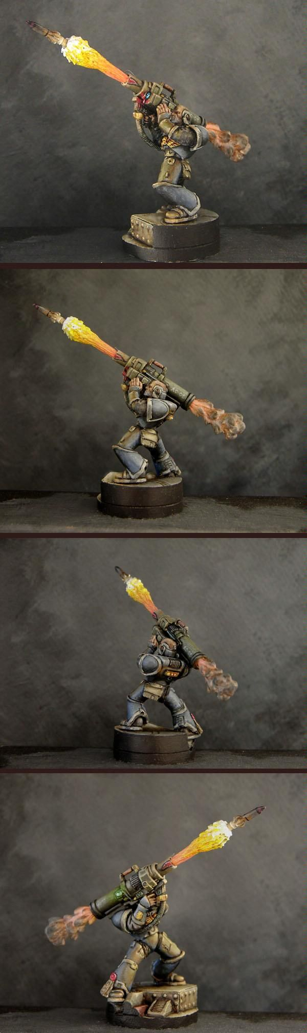 Warhammer 40k, Space Marine with Rocket Launcher - Awesome rocket plume available from Armorcast!