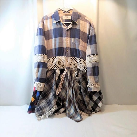 Upcycled Recycled Altered Couture Fashion Remix Plaid Flannel