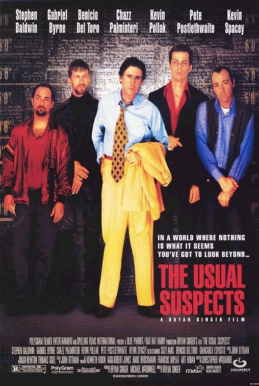 """""""The Usual Suspects"""" Expertly shot and edited, The Usual Suspects gives the audience a simple plot and then piles on layers of deceit, twists, and violence before pulling out the rug from underneath. Kevin Spacey is brilliant in this!"""