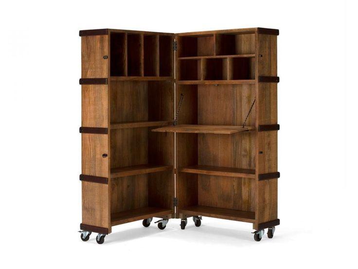 Sekretär Regalschrank Raumteiler Regal massiv Holz Möbel Wohnmöbel