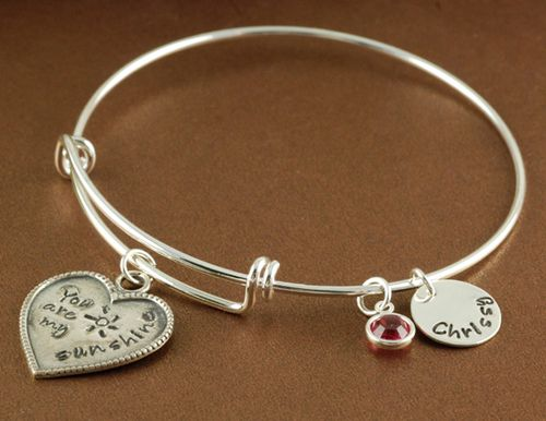 … You Are My Sunshine Silver Birthstone Bangle – Charm Bracelet – Alex and Ani Inspired