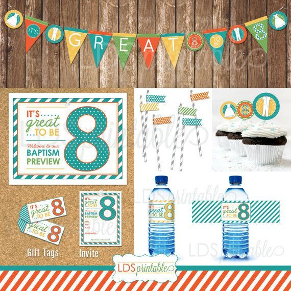 Great To Be Eight 8 Baptism Preview Decor Set Banner Gift Tag Water Bottle Label Invite Program Cover Cupcake Toppers LDS Primary