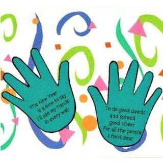 New Years Handprint Poem - Kids craft